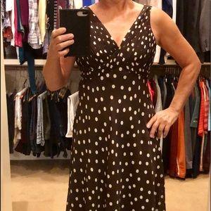Adrianna Papell Brwn& White/Cream Polka Dot dress